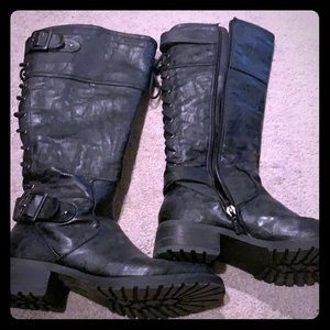 Wanted brand black moto boots